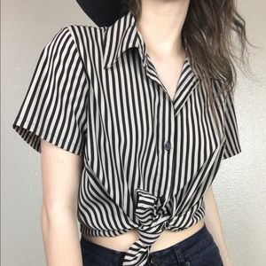 Vintage Vertical Striped Button Up Blouse
